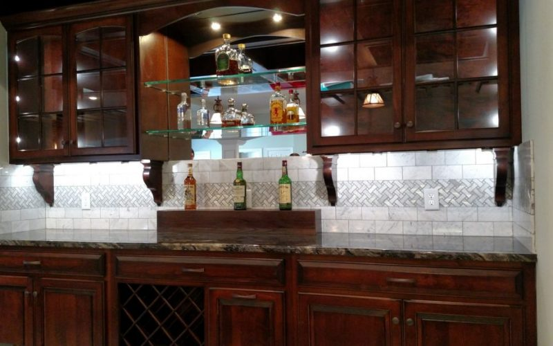 European Builder Custom Bar with backsplash