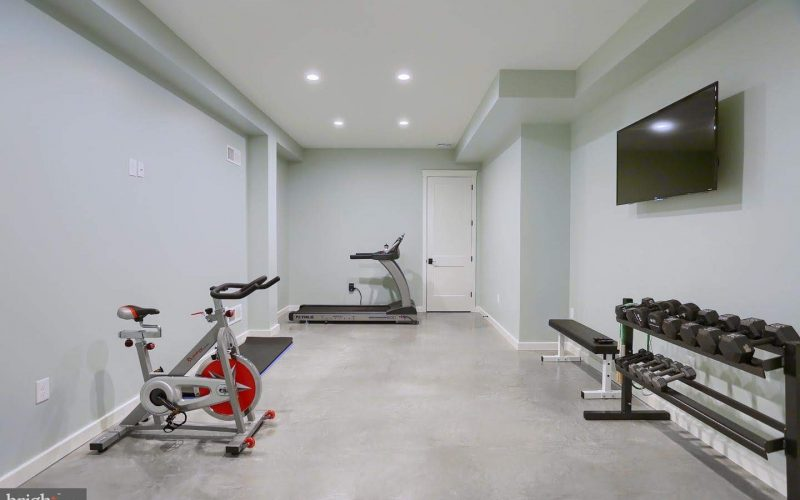 refinished basement workout room