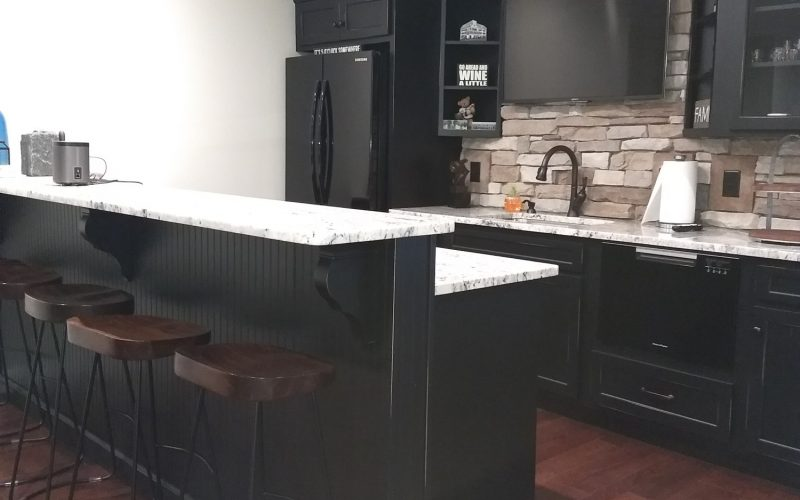 finished basement kitchen and dining bar