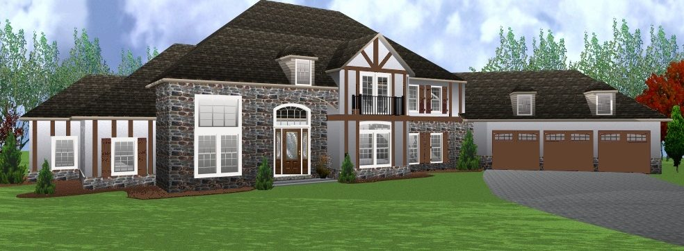 diagram of custom home with stone detail
