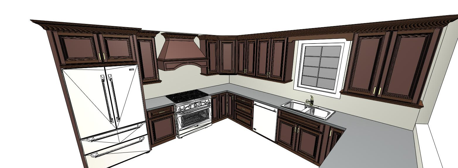 diagram of kitchen with dark wood cabinets