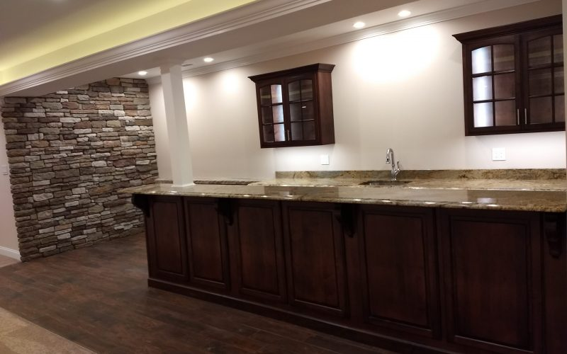 full view of counter area in finished basement