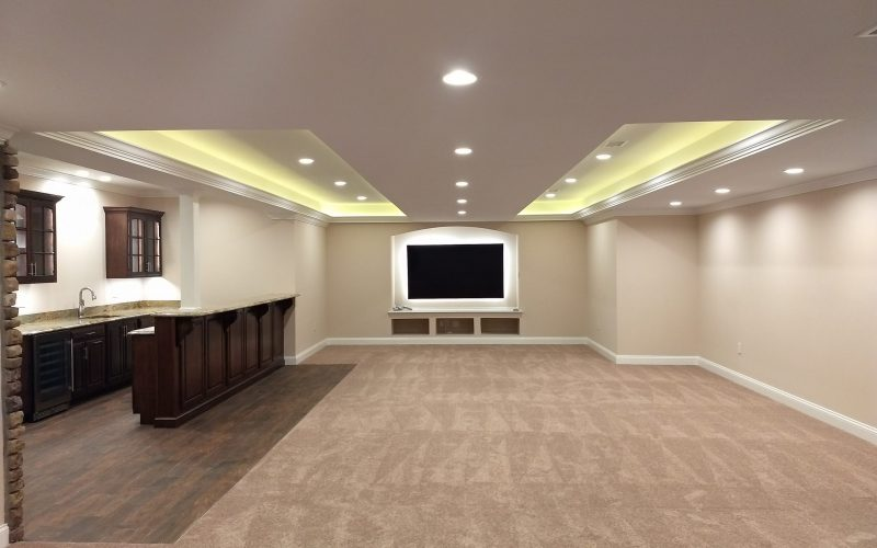 full view of new finished basement for entertaining