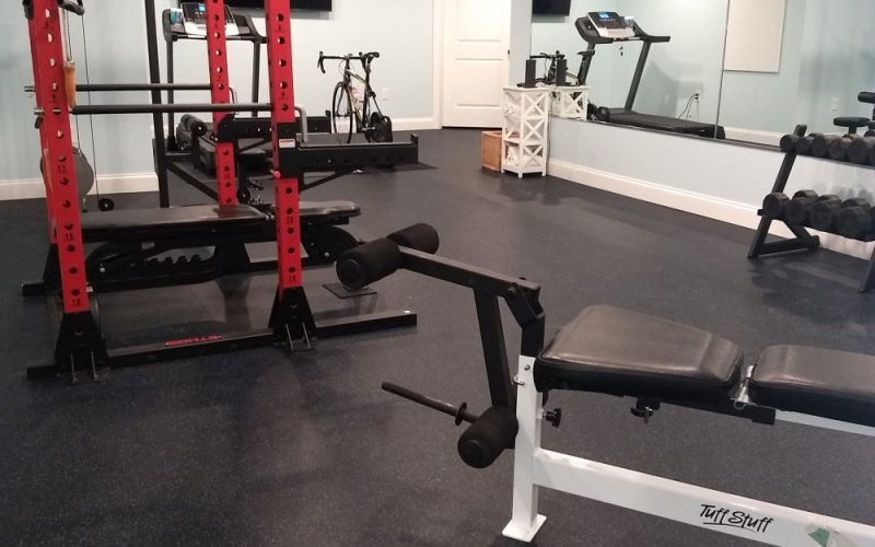 full view of finished basement exercise room