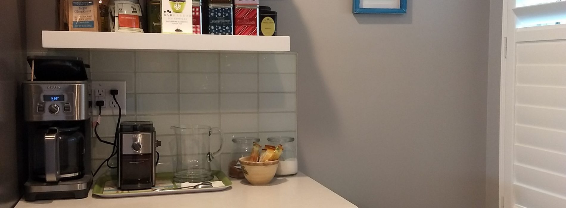 coffee and tea nook in renovated kitchen